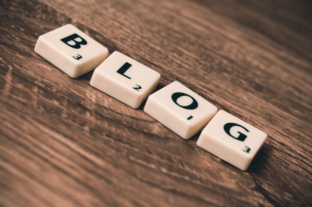 The word blog spelled out